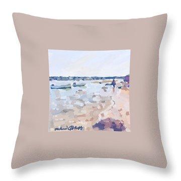 Two Boats At Ten Pound Island Beach Throw Pillow
