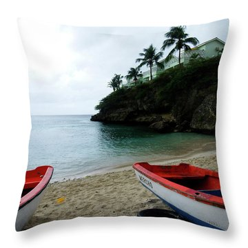 Throw Pillow featuring the photograph Two Boats, Island Of Curacao by Kurt Van Wagner