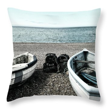 Two Boats On Seaford Beach Throw Pillow