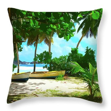 Two Boats On Tropical Beach Throw Pillow
