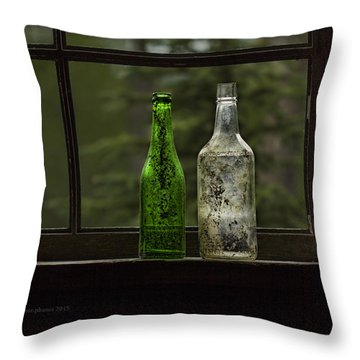 Two Bottles In Window Throw Pillow