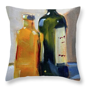 Throw Pillow featuring the painting Two Bottles by Nancy Merkle