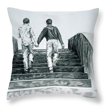 Two Boys Throw Pillow