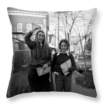 Two Brown Students, Thayer Street, Providence, 1972 Throw Pillow