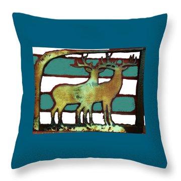 Two Bucks 3 Throw Pillow