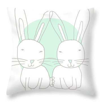 Two Bunnies- Art By Linda Woods Throw Pillow