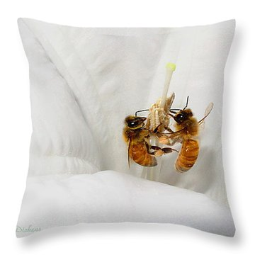 Throw Pillow featuring the photograph Two Busy by Joyce Dickens