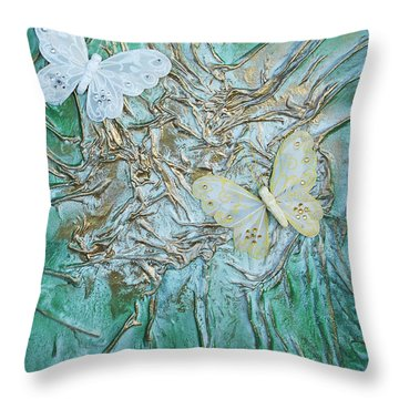 Two Butterflies Throw Pillow by Angela Stout