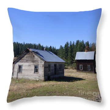 Two Cabins At Fruitland Throw Pillow