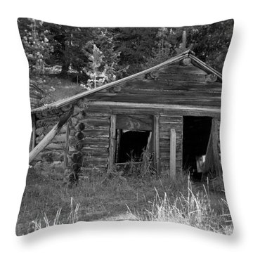 Two Cabins One Outhouse Throw Pillow by Richard Rizzo