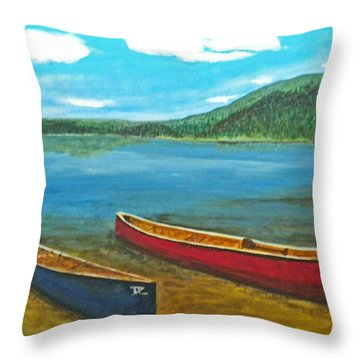 Two Canoes Throw Pillow