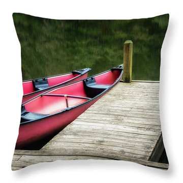 Two Canoes Throw Pillow by James Barber
