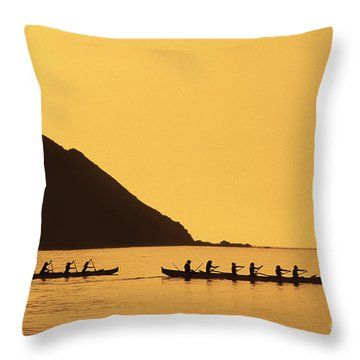 Two Canoes Silhouetted Throw Pillow by Dana Edmunds - Printscapes