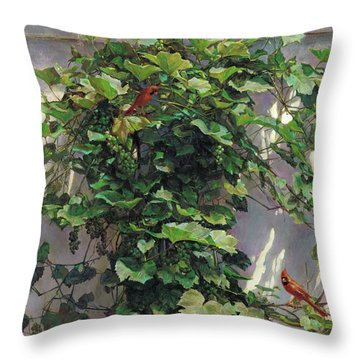 Throw Pillow featuring the painting Two Cardinals On The Vine Tree by Svitozar Nenyuk