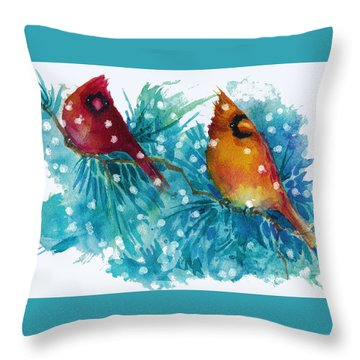 Two Cardinals Throw Pillow by Peggy Wilson