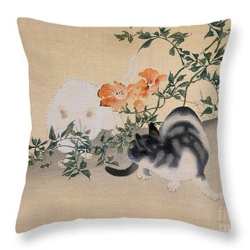 Two Cats Throw Pillow by Japanese School