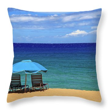 Throw Pillow featuring the photograph Two Chairs And An Umbrella by James Eddy