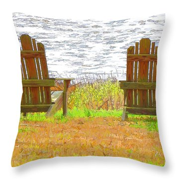 Two Chairs Facing The Lake Throw Pillow by Lanjee Chee