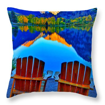 Two Chairs In Paradise Throw Pillow by Scott Mahon