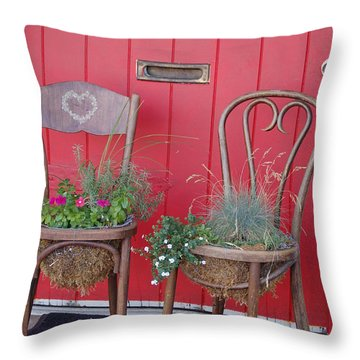 Two Chairs With Plants Throw Pillow