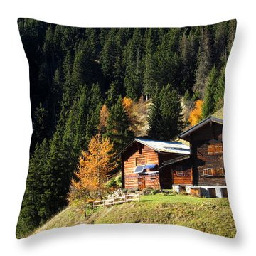Two Chalets On A Mountainside Throw Pillow