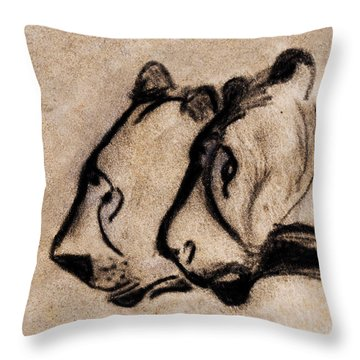 Two Chauvet Cave Lions - Clear Version Throw Pillow