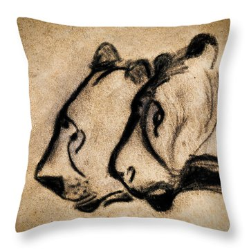 Two Chauvet Cave Lions Throw Pillow
