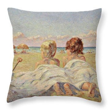 Two Children On The Beach Throw Pillow