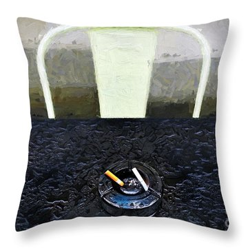 Throw Pillow featuring the photograph Two Cigarettes With White Chair by Craig J Satterlee