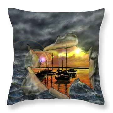 Throw Pillow featuring the digital art Two Climates by Darren Cannell