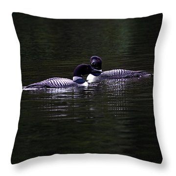 Two Common Loons At Sunset Throw Pillow