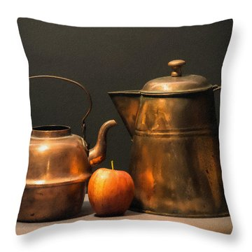 Throw Pillow featuring the photograph Two Copper Pots And An Apple by Frank Wilson