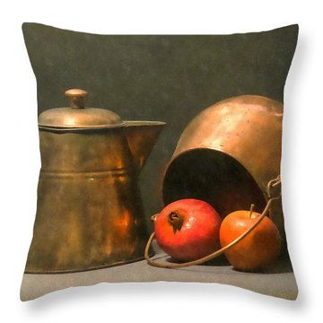 Throw Pillow featuring the photograph Two Copper Pots Pomegranate And An Apple by Frank Wilson