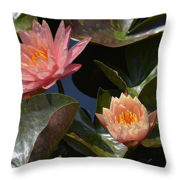 Two Coral Waterlilies Throw Pillow