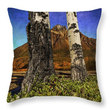 Two Cottonwood Trees And Kinnikinnik Throw Pillow