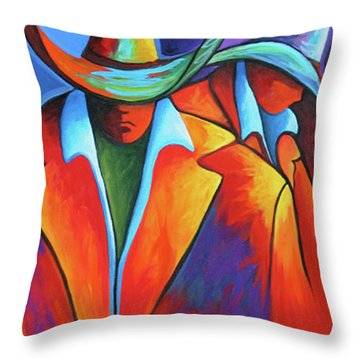 Two Cowboys Throw Pillow by Lance Headlee