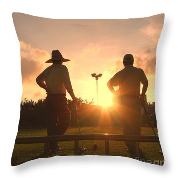 Two Croquet Players Throw Pillow by Yali Shi
