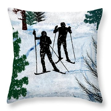 Two Cross Country Skiers In Snow Squall Throw Pillow by Elaine Plesser
