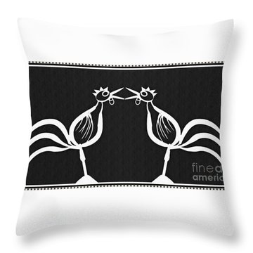 Two Crowing Roosters 2 Throw Pillow by Sarah Loft
