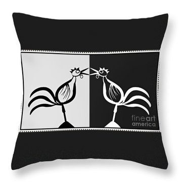 Two Crowing Roosters 3 Throw Pillow by Sarah Loft