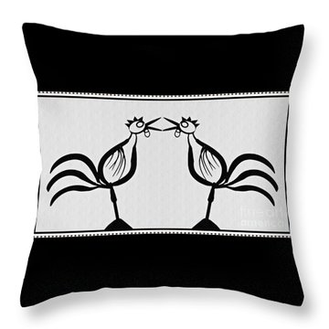 Two Crowing Roosters  Throw Pillow by Sarah Loft