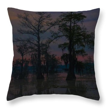 Two Cypress At Dawn Throw Pillow