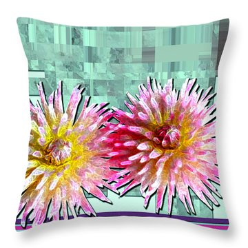 Two Dahlias Throw Pillow