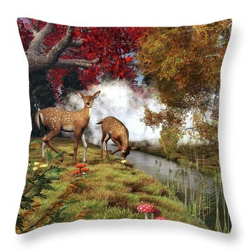 Two Deers Throw Pillow