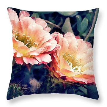Throw Pillow featuring the photograph Two Desert Blooms Apricot Glow by Julie Palencia
