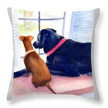 Two Dogs Looking Out A Window Throw Pillow