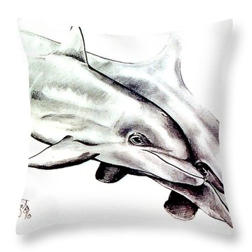 Two Dolphins Throw Pillow by John Keaton