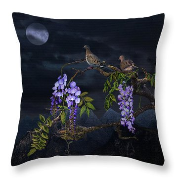 Mourning Doves In Moonlight Throw Pillow