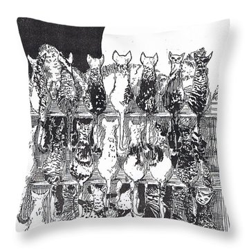 Throw Pillow featuring the drawing Two Dozen And One Cats by Seth Weaver