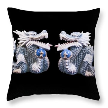Throw Pillow featuring the photograph Two Dragons On Black by Bill Barber
